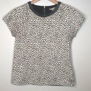 BANANA REPUBLIC Black & White Animal Print Top M